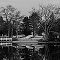 Dinghies Resting Tide Creek Black And White by Gregory Andrus