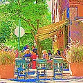 Dinner On The Terrace Le Murphy Boire Et Manger French Bistro Montreal Cafe Street Scene by Carole Spandau