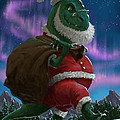 Dinosaur Christmas Santa Out In The Snow by Martin Davey