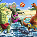 dinosaur fun playing Volleyball on a beach vacation by Martin Davey