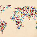 Dinosaur Map Of The World  by Mark Ashkenazi