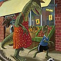 Dinosaur Mum Out Shopping With Son by Martin Davey