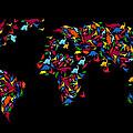 Dinosaurs Map Of The World   by Mark Ashkenazi