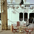 Directors Chairs In Front Of The Ship The Queen by Tom Leonard
