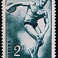 Discus Vintage Postage Stamp Print by Andy Prendy
