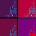 Disney Castle In Purples by Jenny Hudson