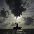 Distant Offshore Oil Rig by Bradford Martin