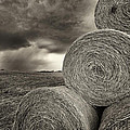 Distant Thunderstorm Approaches Hay Bales E90 by Wendell Franks