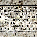 District Of Columbia War Memorial Inscription by Jemmy Archer