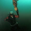 Diver With Giant Octopus Octopus by Jurgen Freund