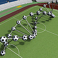Dna String Of Soccer Player On The Field Of Stadium by Nenad Cerovic
