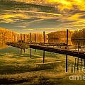 Dock Reflections-golden by Izet Kapetanovic