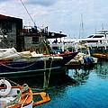 Docked Boats In Newport Ri by Susan Savad