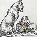 Dog And Child by Robert Noir