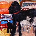 Dog At The Used Car Lot, Rex Gouache On Paper by Brenda Brin Booker
