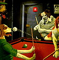 Dogs Playing Pool Wall Art Unknown Painter by Kathy Barney