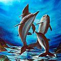 Dolphin Family by Dan Harshman