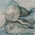 Dolphins Duo Underwater Art Cathy Peek by Cathy Peek