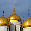 Domes Of The Dormition Cathedral Of Moscow Kremlin - Square by Alexander Senin