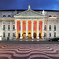 Dona Maria II National Theater At Night In Lisbon by Artur Bogacki