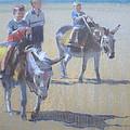 Donkeys At Borth Beach by Derek Williams