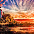 Door County Cana Island Lighthouse Sunrise Panorama by Christopher Arndt
