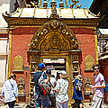 Doorway In Bhaktapur Durbar Square In Bhaktapur-nepal by Ruth Hager
