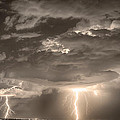 Double Lightning Strikes In Sepia Hdr by James BO  Insogna