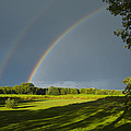 Double Rainbow Over Fields by Lynn Hansen