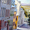 Down The Hill Old Quebec City by Richard T Pranke