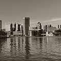 Downtown Baltimore Skyline Sepia by Cityscape Photography