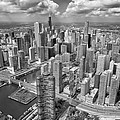Downtown Chicago Aerial Black And White by Adam Romanowicz