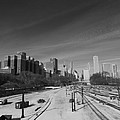 Downtown Chicago Train Tracks Black And White by Cityscape Photography