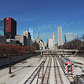 Downtown Chicago With Train Tracks by Cityscape Photography