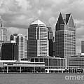 Downtown Detroit Riverfront Bw by Ann Horn