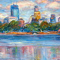 Downtown Minneapolis Skyline From Lake Calhoun II - Or Commission Your City Painting by Quin Sweetman