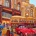 Downtown Montreal-streetcars-couple Near Red Fifties Mustang-montreal Vintage Street Scene by Carole Spandau