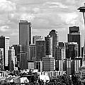 Downtown Seattle Panorama Black And White by Ricardo J Ruiz de Porras