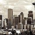 Downtown Seattle Panorama Sepia Tones by Ricardo J Ruiz de Porras