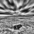 Drama At Freshwater West Mono by Steve Purnell