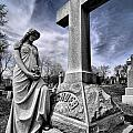 Dramatic Gravestone With Cross And Guardian Angel by Amy Cicconi