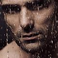 Dramatic Portrait Of Man Face With Water Pouring Over It by Oleksiy Maksymenko