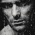 Dramatic Portrait Of Man Wet Face Black And White by Oleksiy Maksymenko