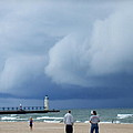 Dramatic Storm Clouds Over Lake Michigan by Susan Wyman