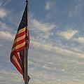 Draped American Flag Pole Dusk  Casa Grande Arizona 2004 by David Lee Guss