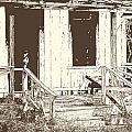 Drawing Of An Old House With Porch In Brown 3000.04 by M K Miller