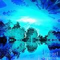 Dream Blue Landscape With Kaleidoscopic Blue Sun by Dana Hermanova