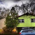 Suburban Dream - House With Blue Car by Miriam Danar