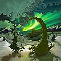 Dream Landscapes Aurora Green by EBENLO Artist