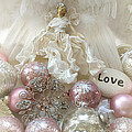 Dreamy Angel Christmas Holiday Shabby Chic Love Print - Holiday Angel Art Romantic Holiday Ornaments by Kathy Fornal
